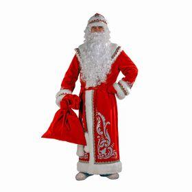 Карнавальный костюм «Дед Мороз», шуба с аппликацией, цвет красный, р. 54-56, рост 188 см