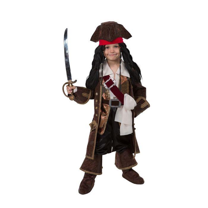 Карнавальный костюм «Капитан Джек Воробей», (бархат и парча), размер 32, рост 122 см