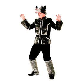 Карнавальный костюм «Серый Волк», плюш, (куртка, брюки, пояс, маска), р. 52-54