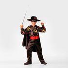 Детский карнавальный костюм «Зорро сказочный» с принтом, сатин, р-р 34, рост 134 см
