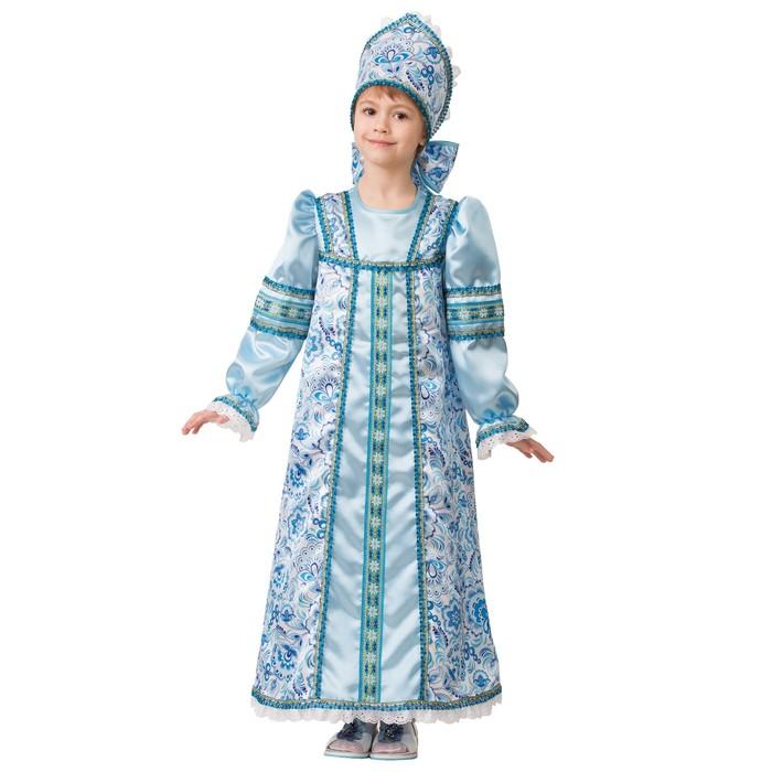 Карнавальный костюм «Василиса сказочная», платье-сарафан, кокошник, р. 32, рост 122 см