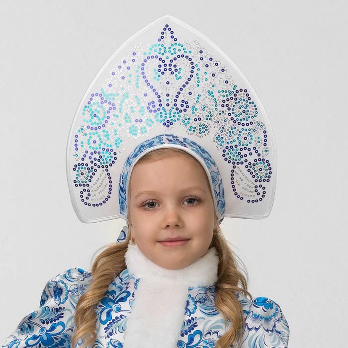 Кокошник детский «Голубые узоры»