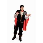"""Карнавальный костюм """"Дракула"""", текстиль, рубаха с жилетом, брюки, накидка, зубы цвета МИКС, р-р 50, рост 176 см"""