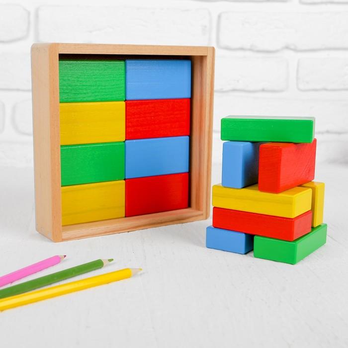 Кирпичики цветные, 16 деталей, в деревянной коробке