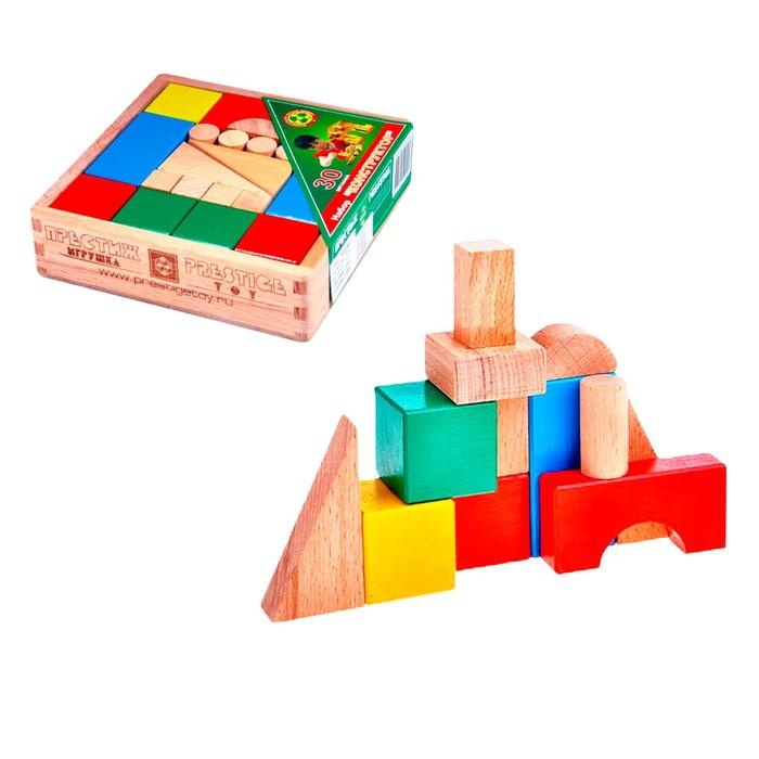 """Набор """"Конструктор"""", 30 деталей, цветной, в деревянной коробке"""