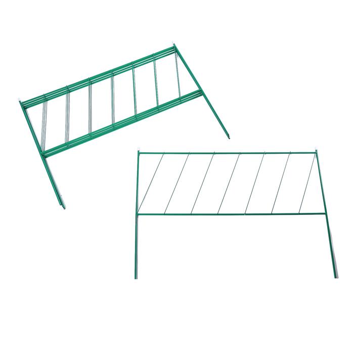 Ограждение декоративное, 53 × 360 см, 5 секций, металл, зелёное, «Лесенка»