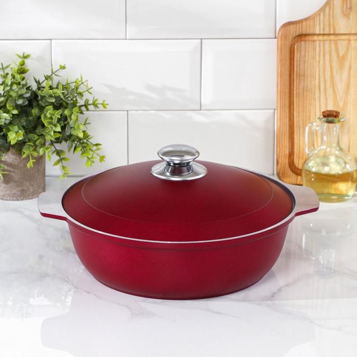Кастрюля-жаровня 3 л, декоративное покрытие, цвет бордо