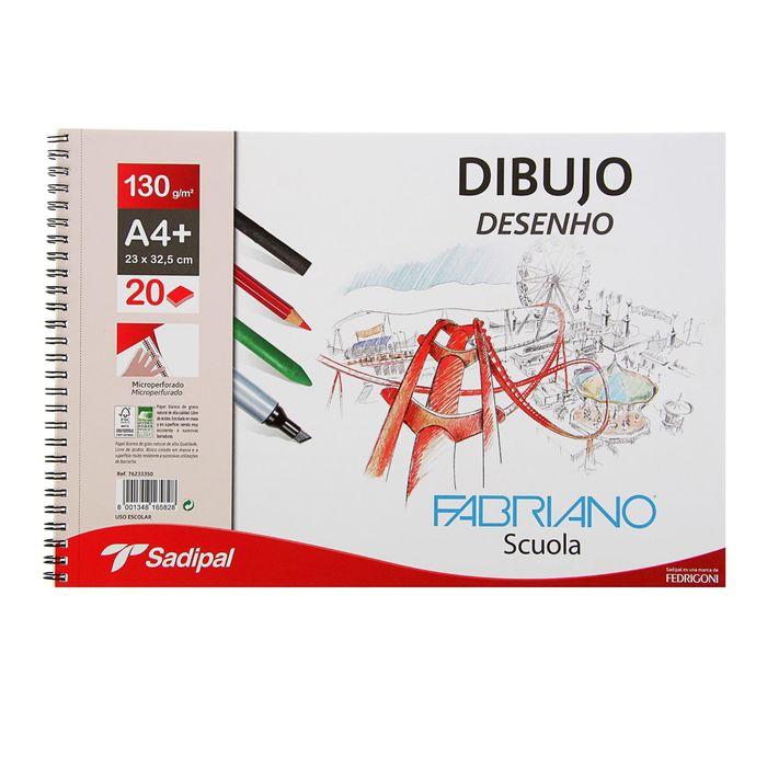 Альбом для графики А4+ Fabriano Dibujo Desenho 20 листов 130 г/м2 на гребне