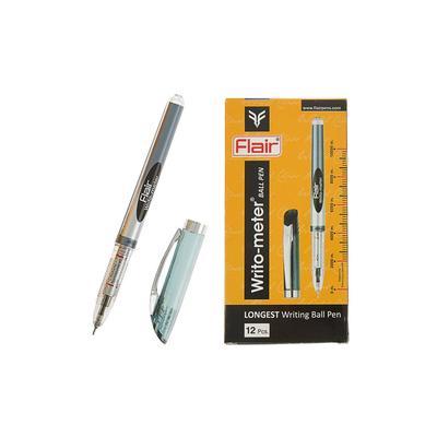 Ручка шариковая Flair Writo-Meter, узел- игла 0,6 мм (пишет 10 км) масляная основа, шкала на стержне, черная