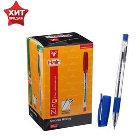 Ручка шариковая Flair Zing, узел-игла 0.7 мм, масляная основа, резиновый упор, треугольный корпус, синий