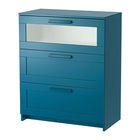 Комод с 3 ящиками, цвет темный зелено-синий, матовое стекло БРИМНЭС