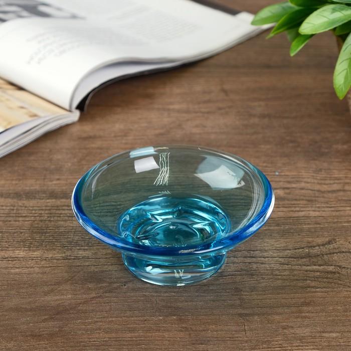 Подсвечник стекло ''Оптима голубой'' 11х11х4 см   2260776