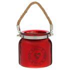 Подсвечник стекло НОМЕ SWEET HOME, красный 10,5х10,5х10,5 см