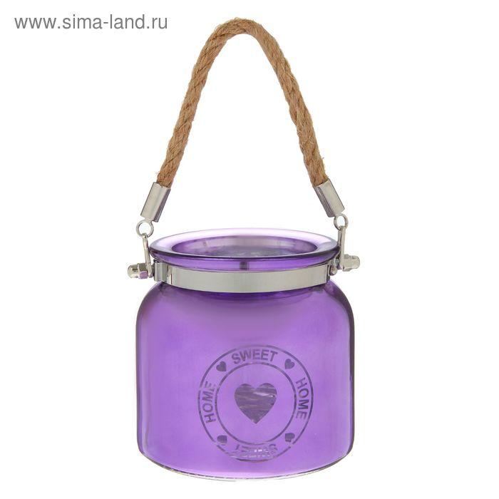 Подсвечник стекло НОМЕ SWEET HOME, фиолетовый 10,5х10,5х10,5 см