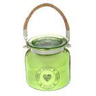 Подсвечник стекло НОМЕ SWEET HOME, зелёный 10,5х10,5х10,5 см