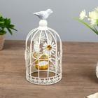 """Подсвечник металл 1 свеча """"Клетка с птицей. Бабочки и цветы"""" 25х12х12 см"""