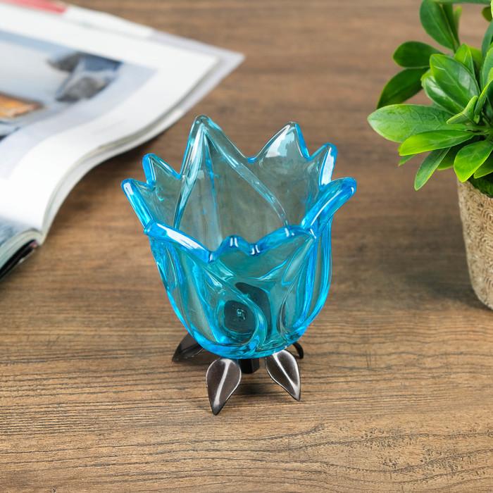 Подсвечник стекло 1 свеча ''Бутон голубой'' 11х10,5х10,5 см   2260900