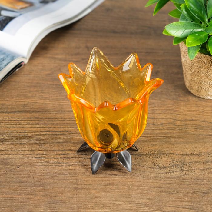 Подсвечник стекло 1 свеча ''Бутон жёлтый'' 11х10,5х10,5 см   2260901