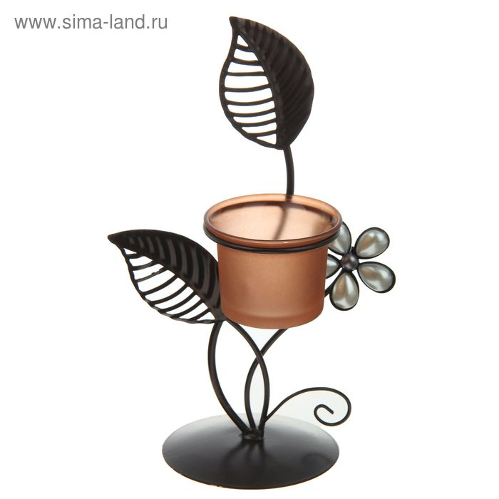 """Подсвечник металл 1 свеча """"Цветок и листья"""" 21х8,5х8,5 см"""