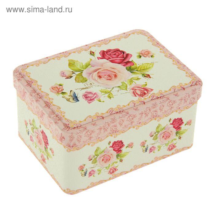 """Шкатулка металл """"Розы"""" 6,5х12,5х9 см"""