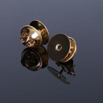 Основа (12*10 мм)+застёжка (11*6 мм) для значка-броши, позолоченная (набор 2 шт)