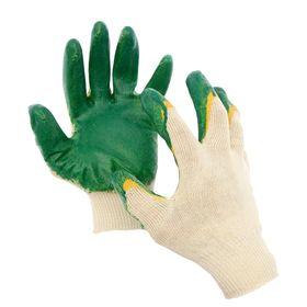 Перчатки, х/б, вязка 13 класс, 4 нити, размер 10, с двойным латексным обливом Ош