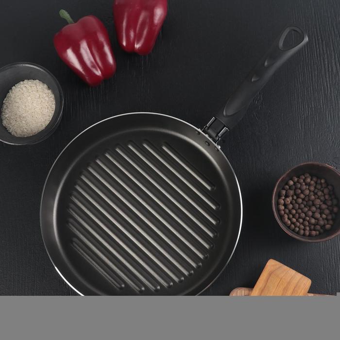 Сковорода-гриль Super Grill, d=26 см, цвет синий УЦЕНКА