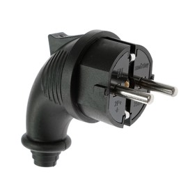 Smartbuy angle plug, 16 A, 250 V, 2P + PE, with ring, rubber, IP44, black.