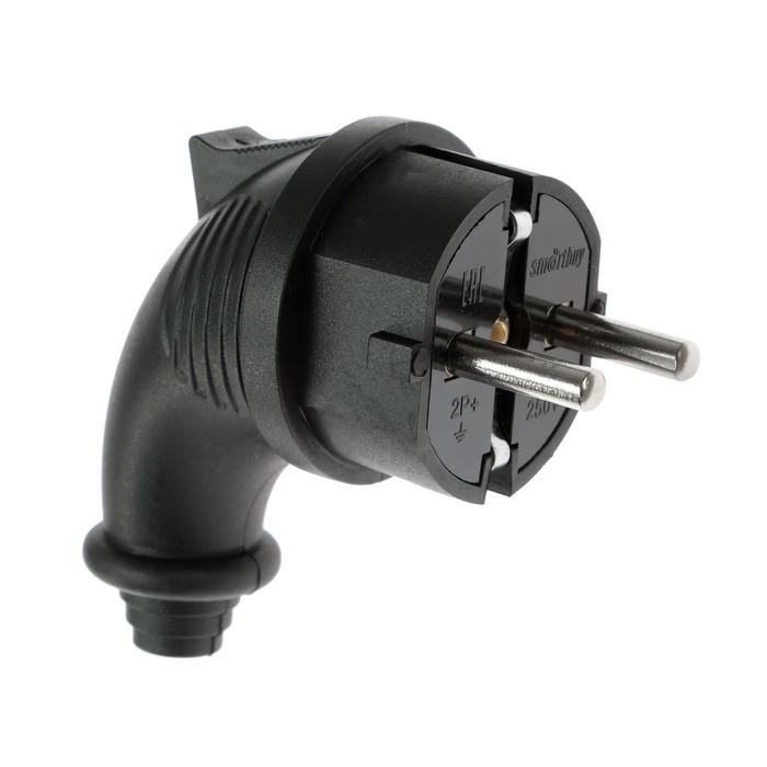 Вилка угловая Smartbuy, 2P+PE, 16 A, 250 В, IP44, каучуковая, черный