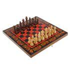 "Настольная игра 3 в 1 ""Хохлома красная"": шахматы, нарды, шашки (доска дерево 40х40 см)"