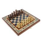"""Настольная игра 3 в 1 """"Гжель"""": шахматы, нарды, шашки (доска дерево 40х40 см)"""