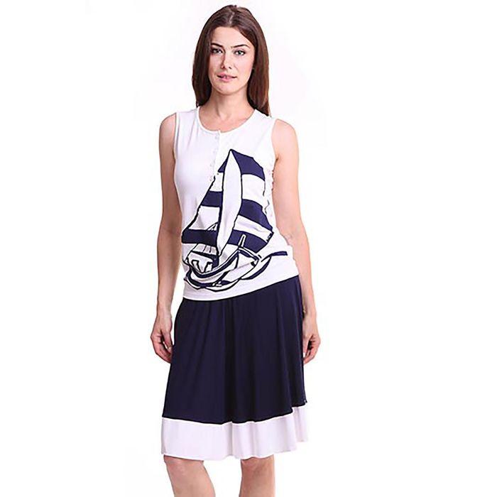 Костюм женский (майка, юбка), цвет белый/тёмно-синий, рост 170-176 см, размер 46