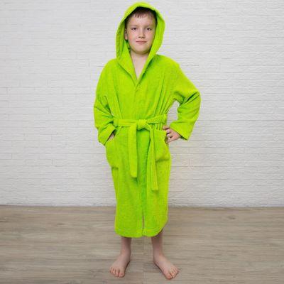 Халат махровый детский, размер 36, цвет салатовый, 340 г/м2 хл.100% с AIRO