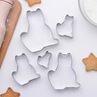 """Набор форм для вырезания печенья 8х9 см """"Кот"""", 5 шт - фото 200663856"""