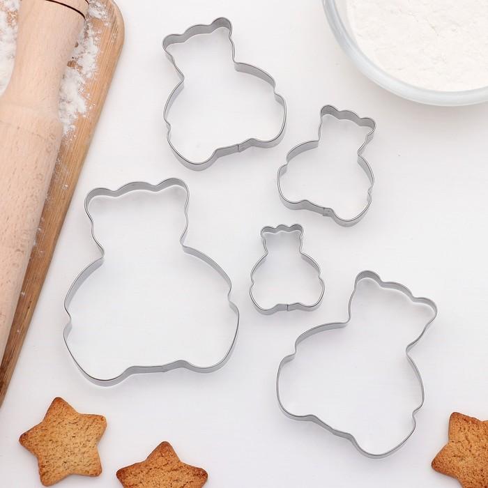 """Набор форм для вырезания печенья 8х9,5 см """"Мишка"""", 5 шт - фото 273628923"""