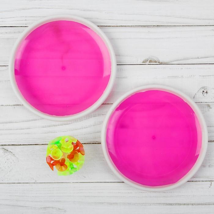 """Игра """"Мяч-липучка"""", набор 2 тарелки + мяч, цвета МИКС"""