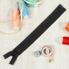 Молния для одежды «Спираль», неразъёмная, потайная, №3, 18 см, цвет чёрный