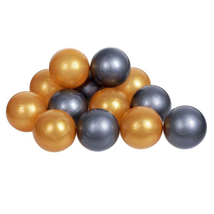 Шарики для сухого бассейна с рисунком, диаметр шара 7,5 см, набор 40 штук, цвет металлик