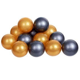 Balls to the dry pool with the pattern, diameter of bowl 7.5 cm set 50 pieces, color metallic