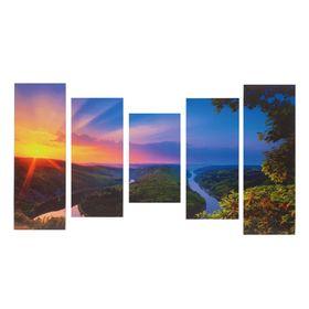 """Модульная картина на подрамнике """"Рассвет"""", 2 — 25×57, 2 — 25×72, 1 — 25×43 см, 125×72 см"""