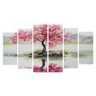 """Модульная картина на подрамнике """"Дерево сакуры"""", 2 — 25×57,5, 2 — 25×74,5, 2 — 25×84,5, 150×84,5 см"""