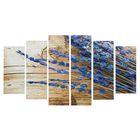 """Модульная картина на подрамнике """"Синие цветочки"""", 2 — 25×57,5, 2 — 25×74,5, 2 — 25×84,5, 150×84,5 см"""