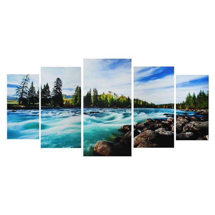 """Модульная картина на подрамнике """"Лесная река"""", 2 — 40×80, 2 — 50×100, 1 — 60×120, 120×250 см"""