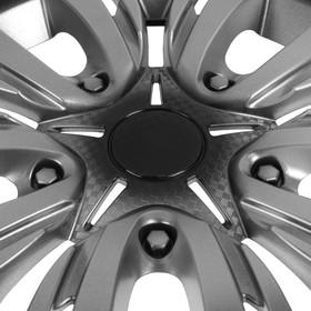 """Колпаки колесные R13 """"ЛИОН"""", серебристо-черный карбон, набор 4 шт - фото 7426412"""