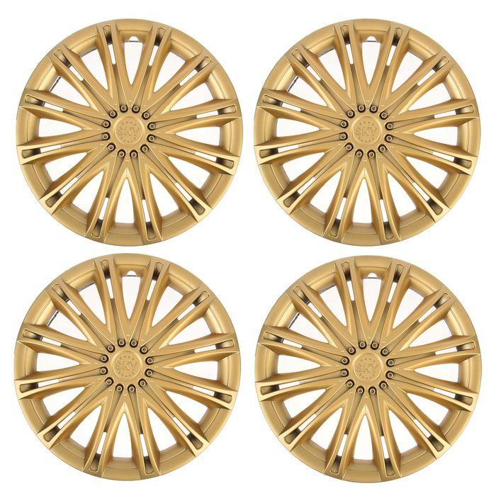 """Колпаки колесные R13 """"СКАЙ"""", золото, набор 4 шт - фото 7426415"""