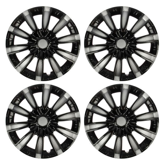 Колпаки колесные R14 Tornado, серебристо-черный карбон, набор 4 шт - фото 7426426