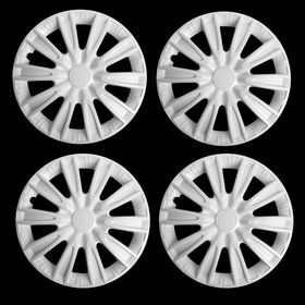 """Hubcaps wheel R15 """"TORNADO"""", white gloss carbon, set 4 PCs"""
