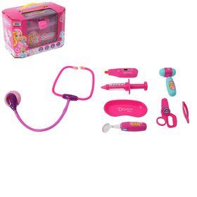 """Набор доктора """"Маленькая медсестра-2"""" в розовом чемодане, световые эффекты, 8 предметов"""