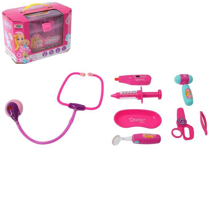 Набор доктора «Маленькая медсестра-2» в розовом чемодане, свет, 8 предметов