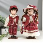 """Кукла коллекционная """"Парочка в бордовых нарядах"""" (набор 2 шт) 30 см"""